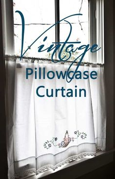 Pillowcase Curtain Vintage Pillowcase Curtain Use a pretty vintage pillowcase for a simple and charming small window curtain. Vintage Pillowcase Curtain Use a pretty vintage pillowcase for a simple and charming small window curtain. Small Window Curtains, Curtains And Draperies, No Sew Curtains, Blackout Curtains, Valances, Layered Curtains, Linen Curtains, Hanging Curtains, Target Curtains