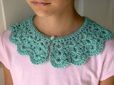 crochet collar  peter pan collar  aqua  blue / by TheFreckledPurl, $18.00