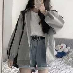 korean girl fashion Hoodies For Girls Coats Hooded long Sleeve Jumper Hooded Pullover GoFashionova Korean Fashion Dress, Korean Street Fashion, Korean Outfits, Korean Women Fashion, Korean Ootd, Skater Fashion, Korean Fashion Casual, Cute Casual Outfits, Retro Outfits