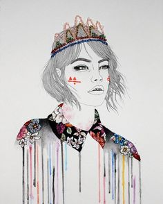 @izziyanasuhaimi's work is such a wonderful mix of traditional drawing / painting and embroidery art. The flowers on her shirt and her tiara are all hand embroidered - love!!  via BEAUTIFUL BIZARRE MAGAZINE OFFICIAL INSTAGRAM - Celebrity  Fashion  Haute Couture  Advertising  Culture  Beauty  Editorial Photography  Magazine Covers  Supermodels  Runway Models