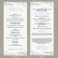 Wedding Program Template  DOWNLOAD by DiyWeddingTemplates on Etsy, $8.00
