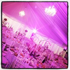 Functions For Africa, wedding set up in a marquee, experimenting with pink lighting...