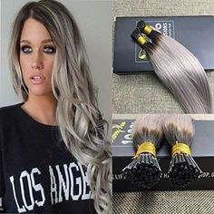 Sunny HairI Tip/Stick Tip Ombre Human Hair Extensions #1b/grey #sunnyhumanhairextension