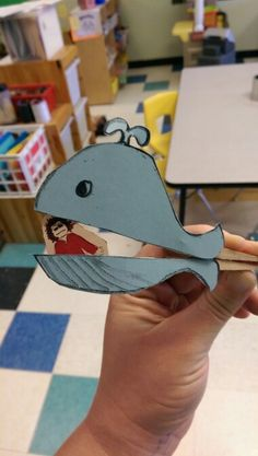 Jonah and the Whale craft for kiddos. Close pin, card stock whale and Jonah. So simple.