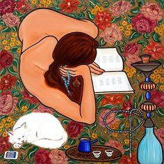 "Mona Trad Dabaji ""Omar Khayam, A l'heure de la sieste"" Superflat, Reading Art, Woman Reading, Reading People, Pop Art, Frida Art, Book Corners, Book Drawing, Sculpture"