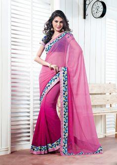 Pink Color Georgette Designer Saree