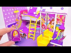 DIY Miniature Dollhouse Room ~ Rapunzel Room Decor, Backpack Informations About DIY Miniature Dollho Cardboard Dollhouse, Diy Dollhouse, Diy Doll Miniatures, Miniature Dolls, Diy Paper, Paper Crafts, Diy Crafts, Baby Doll Clothes, Baby Dolls