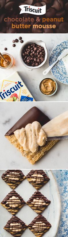 These sweet treats are the perfect party closer! Dip half of each TRISCUIT cracker on a diagonal into melted chocolate. Place on covered baking sheet until full and refrigerate for 5 min. or until chocolate is firm. Beat 6 oz. of cream cheese, 1/4 cup peanut butter, 2 tsp. honey with mixer on medium speed until blended. Beat on high until light and fluffy. Spoon into decorating bag or resealable plastic bag to pipe mixture onto crackers & finish with a drizzle of melted chocolate!