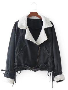 Contrast Sherpa Collar Denim Biker Jacket