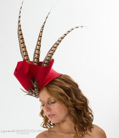 Red Felt and Feathers | Fashion at the Races, Hat, Fascinator, Millinery, Kentucky Derby