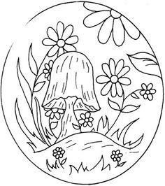 Flowers and mushroom embroidery pattern - like the idea of it in a marked circle.
