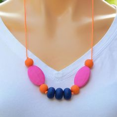 Summer Nights teething necklace for mums to wear and bubs to chew on. Teething Jewelry, Teething Necklace, Gifts For Mum, Great Gifts, Summer Colors, Summer Nights, How To Wear, Necklaces, Colours