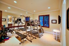 Traditional Home Gym with Carpet, Crown molding, High ceiling