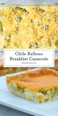 Breakfast Recipes Chile Relleno Casserole is a family favorite breakfast casserole with eggs, two types of cheese and mild green chiles. The perfect breakfast recipe for feeding a crowd! Mexican Breakfast Recipes, What's For Breakfast, Perfect Breakfast, Breakfast Dishes, Brunch Recipes, Mexican Food Recipes, Breakfast Potluck, Mexican Breakfast Casserole, Green Chili Recipes
