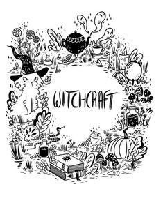 Little Hedge witch Coloring Books, Coloring Pages, Hedge Witch, Doodles, Pagan Witch, Witch Art, Witch Aesthetic, Halloween Art, Book Of Shadows