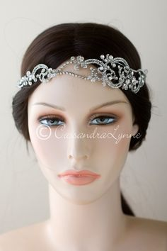 Wedding Headband with Scrolls and Crystal Beads