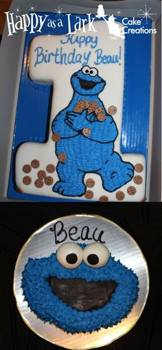 Cookie Monster themed cake and smash cake!