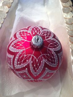 Hand painted Lace Christmas Ornament Christmas by HandpaintedLace