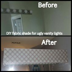 DIY fabric shade for vanity lights in master bathroom. Grey, turquiose, teal, white.