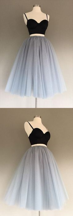 Buy Cheap Sexy Gray Tulle Charming A-Line Two-Piece Short Homecoming Dress,Prom Dress,Prom Dress Short,Graduation Dress,Gray Prom Dress at www.simidress.com