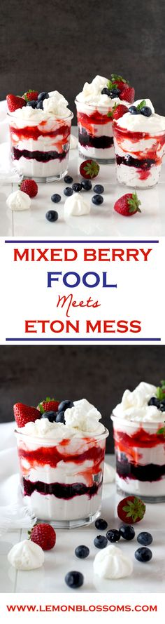 This Mixed Berry Fool is the simplest, most delicious and fluffiest no bake dessert sure to impress your family and friends! Easy and quick makes this the perfect dessert for summer! Easy No Bake Desserts, Best Dessert Recipes, Summer Desserts, Easy Desserts, Holiday Recipes, Delicious Desserts, Summer Food, Summer Fruit, Summer Recipes
