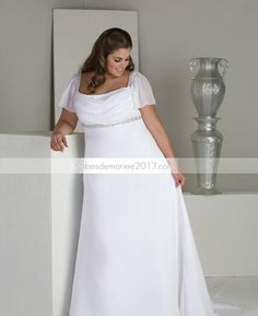 Style empire, jaime le decolleté carré: Taille Plus robe de mariée (avec des superpositions en biais sur la jupe , sans le décorum sur la poitrine , et en noir blanc?..YES )