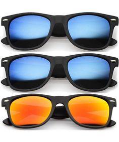 Retro Classics Sunglasses Fashion Color Mirror Lens UV Protection - 3 pairs - CQ11L2YHUIP #Retro#Classics#Sunglasses#Fashion#Color#Mirror#Lens#UV#Protection#3#pairs#CQ11L2YHUIP Wayfarer Sunglasses, Polarized Sunglasses, Outdoor Woman, Fashion Colours, Retro Design, Vintage Men, Lens, Pairs, Mirror