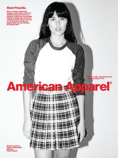 Meet Priscilla, she is wearing the 3/4 Sleeve Raglan Shirt and the Pleated Schoolgirl Skirt by #AmericanApparel.  #ads #advertisement