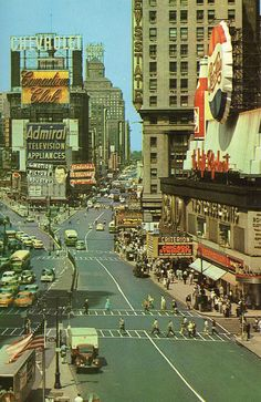 Times Square, New York City 1955. So much has changed! Oh, the History I've stood within. (: