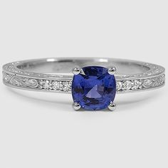 18K White Gold Sapphire Delicate Antique Scroll Diamond Ring // Set with a 6mm Round Blue Sapphire
