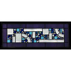 Edel Byrne Violet Border Geometric Stained Glass Panel, Artistic Artisan Designer Window Panels
