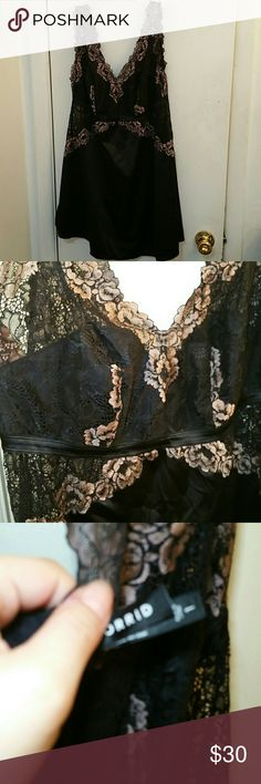 Torrid lingerie lace teddy I bought this a few years ago when I was a little heavier and now it's very loose on me now. It's in great shape and was only worn a handful of times. Its black and a very light mauve in the lace part. Everything in my shop gets washed before I ship it out! Make an offer! torrid Intimates & Sleepwear Chemises & Slips