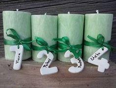 Flori / sviečky na adventný veniec s číslami/ zelené