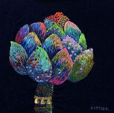 ♒ Enchanting Embroidery ♒  embroidered artichoke by Kimika Hara