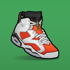 "SLOFAR on Instagram: ""Jordan 6 Gatorade Like Mike #sneakerart #sneakerartist #sneakerartwork #sneakervector #jordan6 #jordan6s #jordan6gatorade"" Jordan Vi, Sneakers Wallpaper, Like Mike, Sneaker Art, Air Jordans, Miami, Cartoon, Stickers, Tees"