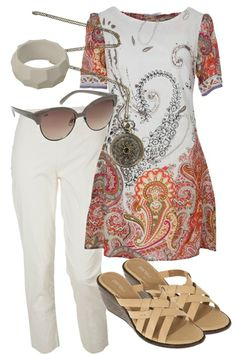Orientique Tunic dressed with white jeans at Birdy Boutique