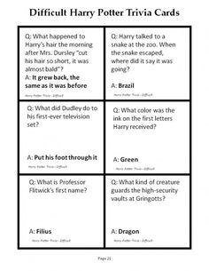 180 Printable Trivia Questions for Harry Potter and the Sorcerer's Stone Hard Harry Potter Trivia, Harry Potter Trivia Questions, Harry Potter Party Games, Harry Potter Day, Trivia Questions And Answers, Harry And Hermione, Trivia Quiz, Trivia Games, The Sorcerer's Stone