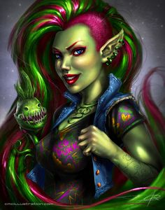 "I could picture Devi like this.  (Devi from ""Kingkiller Chronicles"")  This is an artist's rendition of Monster High Venus McFlytrap.  I love both of them."