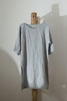 Light Grey Linen Tunic Dress / Smock by KnockKnockLinen on Etsy, £80.00