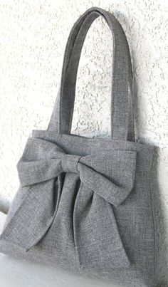 Medium Gray Bow Bag / Purse w/  Double handles. Peace Love N Polda Dots via Etsy.