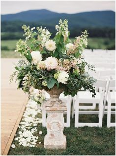 19 large oversized floral ceremony arrangement pippin hill farm vineyard outdoor ceremony stone pillar