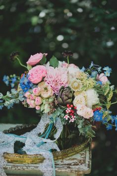 The perfect bouquet for a vintage and modern garden wedding: http://www.stylemepretty.com/2014/11/04/modern-meets-vintage-garden-inspiration/ | Photography: Katie Pritchard - http://katiepritchardphoto.com/