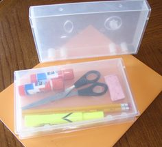 Clever pencil box or storage box   **I reuse old VHS cases as pencil  or keepsake boxes. They are great for storing small items as well. akcielo~