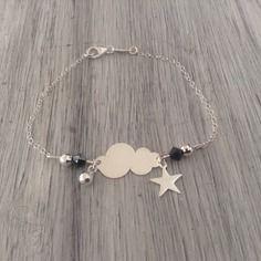 Bracelet en argent nuage et étoile perles de swarovski