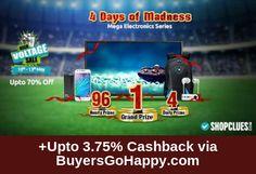 4 days of Unlimited Electronics Craziness has begun! Win Prizes @ High Voltage Sale at #Shopclues +Upto 3.75% Cashback via BuyersGoHappy.com https://goo.gl/AjLlQL