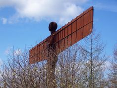 "Antony Gormley [UK] (b 1950) ~ ""ANGEL OF THE NORTH [GATESHEAD]"", 1995. Steel (22 x 54 x 2.20 m). Permanent installation,Gateshead, UK.   #art #sculpture #figurative #installation #land_art #conceptual #steel"