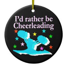 BLUE RATHER BE CHEERLEADING DESIGN Double-Sided CERAMIC ROUND CHRISTMAS Personalized and dated Cheerleader ornaments make a treasured gift for Birthdays, Holidays, and any occasion.  http://www.zazzle.com/collections/cheerleading_ornaments-119445558766685023?rf=238246180177746410 #Cheerleading #Cheerleader #Cheerleadergift #Lovecheerleading #Cheerleading ornament #PersonalizedCheerleaderORNAMENT