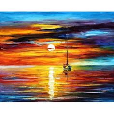 """BY THE SUNSET -  PALETTE KNIFE Oil Painting On Canvas By Leonid Afremov -  Size 24"""" x 30"""""""