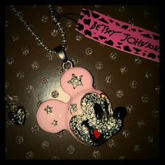 NWT Betsey Johnson Mickey Mouse Necklace Gold and pink mickey mouse rhinestone pendant necklace. Chain measures approximately 30 inches. Betsey Johnson Jewelry Necklaces