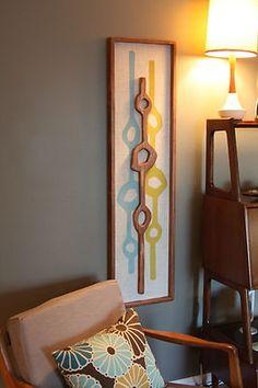 Mid Century Danish Modern Styled Tiki Wall Art | eBay
